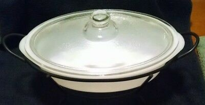 Vintage Glasbake Oval 1qt. Casserole Dish (J235) with Wire Frame Stand and Lid