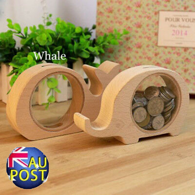 Creative Handcrafted Wooden Piggy Bank Saving Money Coin Box for Kids  Gift  MN