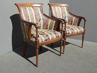 Pair Vintage Tradition de France Carved Wood French Provincial ACCENT CHAIRS