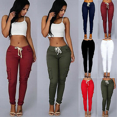 Womens Pockets Casual Pants Slim Fit Skinny Work Trousers Sweatpants Plus Size