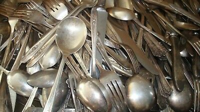 Vtg Mix Lot of 200 Pieces Silverplate Flatware Spoon Forks  Craft Resale Art