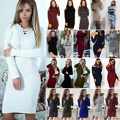 Women's Knitted Jumper Dress Winter Slim Stretch Bodycon Sweater Mini Dresses