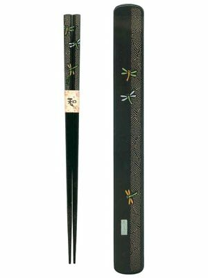Ryu Mei 058030 Dragonfly Japanese Chopstick Box and Set, Black