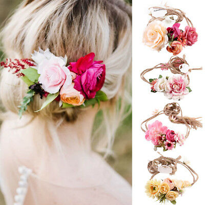 Beauty Floral Flowers Maternity Sash Wedding Flower Crown Romantic Hair Wreath