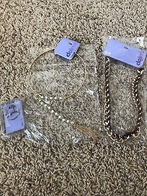 NEW Claire's Pearl & Gold Tassel Collar Necklace Metal Girls Fun NWT