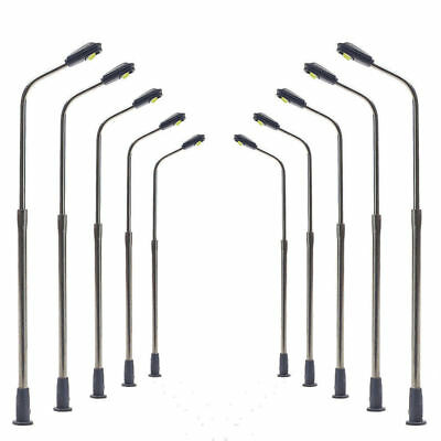 LQS06 10pcs Model Railway Train Lamp Post Street Lights N Scale LEDs NEW