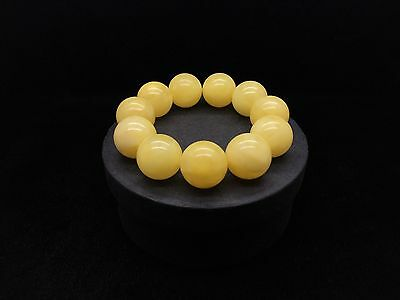 40,6g Natural Baltic Amber Bracelet Yellow Beeswax Round Beads Hupo-se 琥珀色