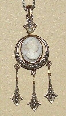 Vintage Antique Victorian 10K Gold Seed Pearl Cameo Lavaliere Pendant 4 Necklace