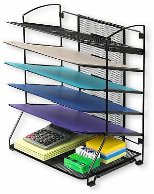 6 Trays Desktop Document Letter Tray Organizer, Black