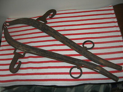 Antique Horse Harness Hames Wood & Forged Iron Excellent Old NH Barn Find Yoke