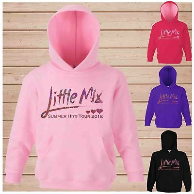 Childrens Kids Girls Little Mix Summer Hits Tour 2018 T-Shirt Hoody Glitter Top