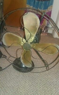 "Antique Black Vintage GE Works Well  16"" FAN Brass Blade General Electric"