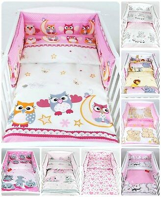 3 PIECES NURSERY - BABY BEDDING SET- PINK - BUMPER-PILLOW-QUILT COVER to fit COT