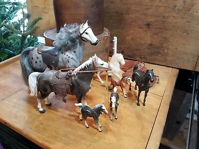 Mid To Late 1900's Set Of Vintage Lot Of Plastic Horses Leather Saddle Included