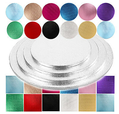 Cake Drum Boards 12mm Thick Square Round Silver Gold Pink Blue Colour Board