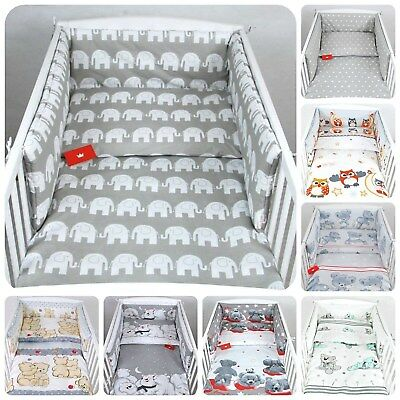 3 PIECES NURSERY - BABY BEDDING SET- GREY - BUMPER-PILLOW-QUILT COVER to fit COT