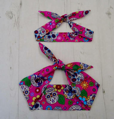 Matching Mum & Baby Head Scarf Pink Mexican Candy Skull Tattoo Bandana Gift Set