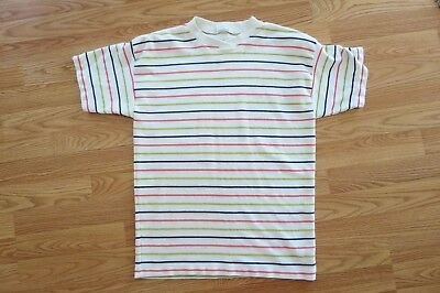 Vintage 80's Catalina Multi Colored Striped Short Sleeved T-Shirt Size M