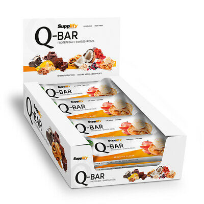 Protein Riegel APPLE PIE Q-Bar Eiweiß von Supplify mit Whey Protein (12x60g Bar)