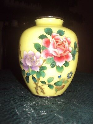 Gorgeous  Silver Rimmed Cloisonne Yellow Vase W/flowers