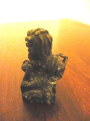 Antique Vintage Bronze or Brass Asian Chinese Stamp Seal Foo Dog