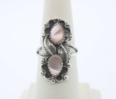 Sterling Silver Pink Mother Of Pearl  Ring Sz. 7 *Free Shipping*