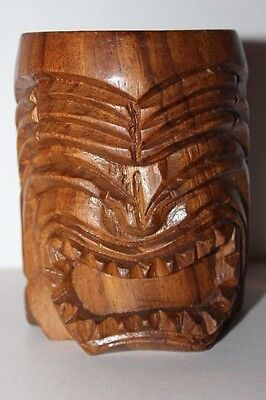 Hand Carved Brown Wood Tiki Face Mug with Handle Made In The Philippines # 23