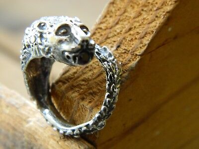 Vintage Sterling Silver Medieval Serpent Ring With Natural Purple Stone