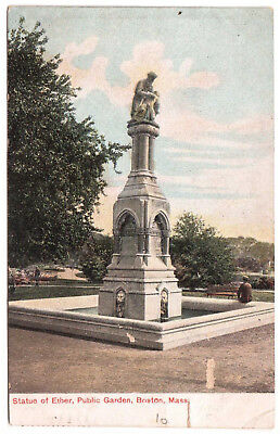 AK US USA Post Card Statue of Ether Public Garden BOSTON gelaufen 1907