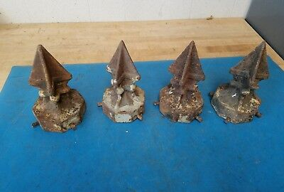 Antique Finial Decorative Cast Iron Victorian Arrowhead Fence Post Tops Four (4)