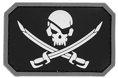 Pirate Cutlass Skull Jolly Roger Crossed Sabers Swords PVC Velcro Patch in Black
