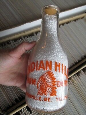 Indian Hill Farm Dairy Chief In Headress Graphics On Both Sides Maine Qt Bottle
