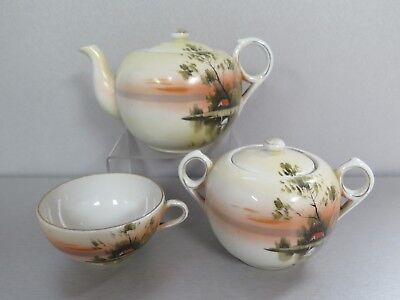 Vintage Hand Painted Teapot Sugar Bowl Cup Made In Japan House Swan Trees