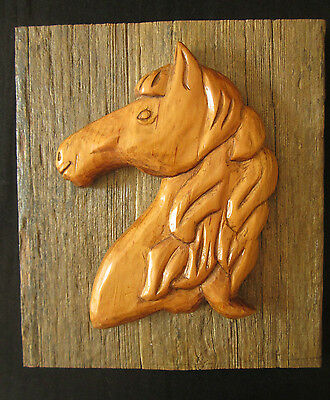 Folk Art Wood Carving Horse Vintage Mounted on Antique Barnboard Equestrian