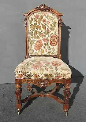Vintage French Louis XV ORNATELY Carved CHAIR Floral Velvet Fabric Castor Wheels