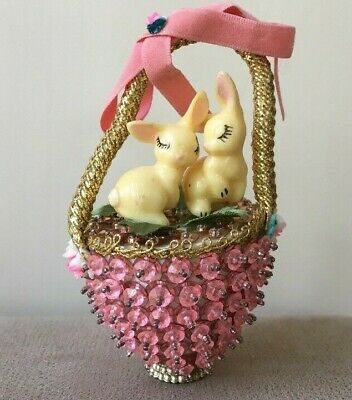 Easter Bunnies Rabbits Hand Crafted Beaded Sequin Basket Celluloid Ornament Pink