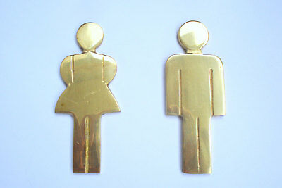 Vintage Set of 2 Solid Brass Door Bathroom Signs/Toilet signs/ Set of 2 signs