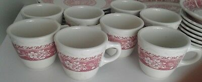 8 Syracuse China Strawberry Hill coffee cups red floral restaurant ware 4-H EUC