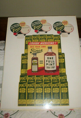 Vintage PINEX Drug Store Pharmaceutical Display Cough Syrup Medicine Sign