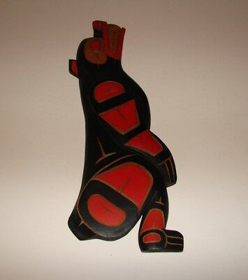 Northwest Coast First Nations Native wooden Art carving BEAR signed
