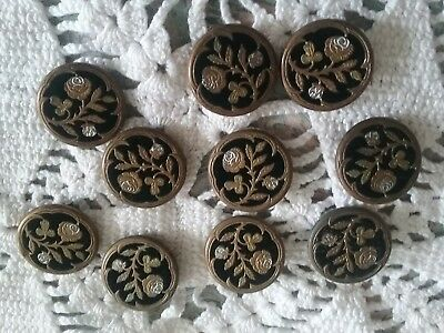 Antique Velvet & Brass Victorian Sewing Buttons Roses Beautiful 10 Matching