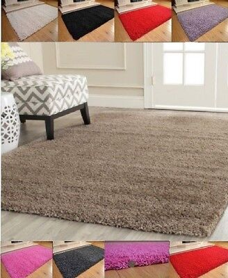Soft Shaggy Plain Rug Non Shed Pile Modern Area Home Bedroom Rugs 5cm Thick