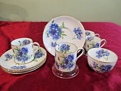 Vtg Set 4 Hammersley Cornflower Blue Demitasse Cup & Saucer Plus Sugar Bowl