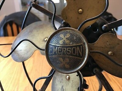 Old Emerson Brass Blade Oscillating 3-Speed Fan 110 Volts Bullwinkle Type 29645