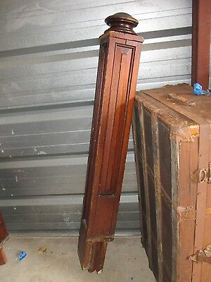 """Vintage Newel Post  Stained  Ball Top  56"""" Tall  Detail On 2 Sides"""