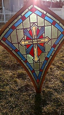 Antique Vintage Stained Glass Window Unusual Shape Framed