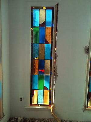 Art Deco Multi-Colored Stained Glass Window In Frame Approx 20 X 82