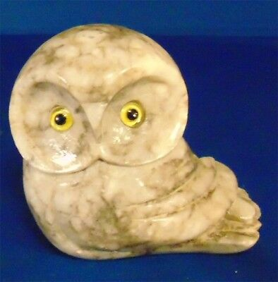 Antique Vintage,Italian HandCarved Alabaster OWL Stone Figurine Collectible