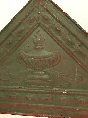 Antique Green Rusty Tin Ceiling Tile Triangle Shape 34  x 24 (sides) x 22 (hgt)