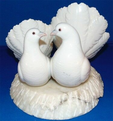 AntiqueVintagePair of White Doves Lovebirds Perched on marble base -Ceramic -